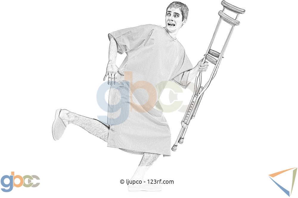 Patient mit Krücken läuft weg