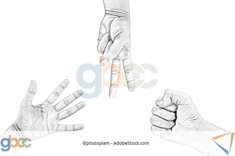 Drei Hände spielen Papier Stein Schere