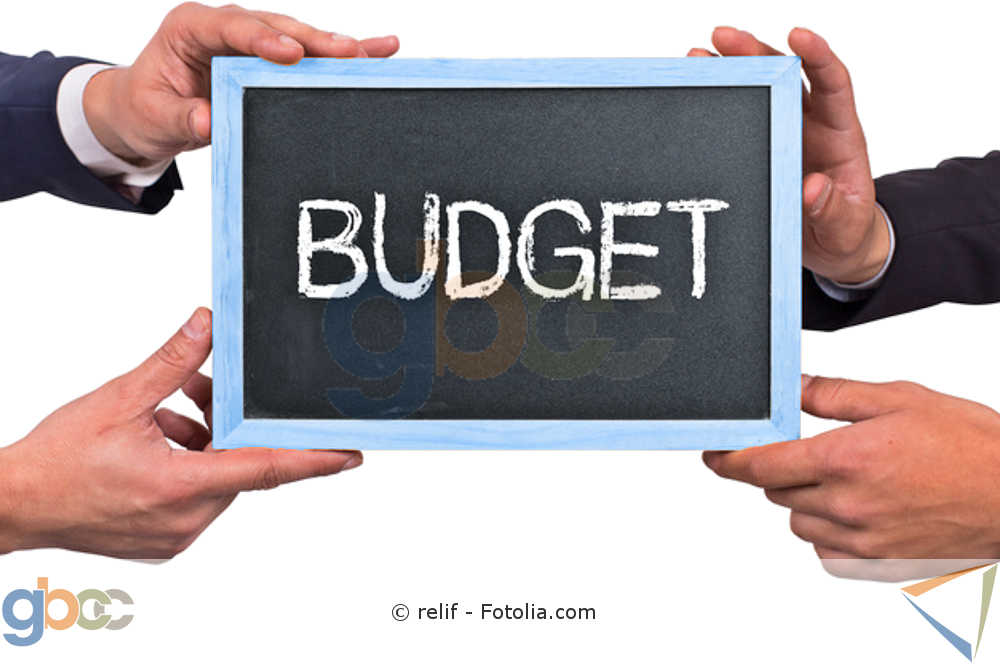 """Vier Hände halten eine Tafel hoch auf der das Wort """"Budget"""" steht"""