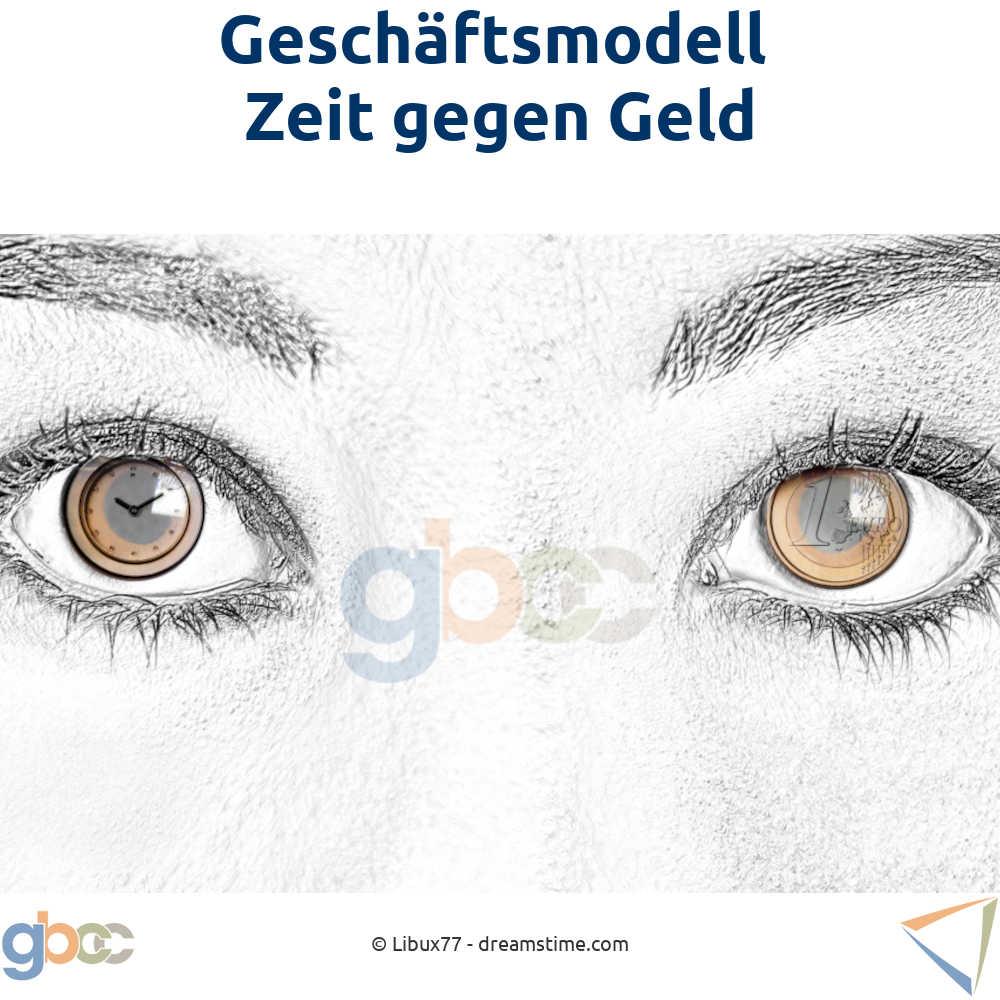 Nahaufnahme Frauenaugen mit Pupillen ersetzt durch das Bild einer Uhr und einer 1-Euro-Münze